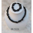 HB-N124 Black Woven Fresh Water Pearl Set