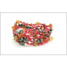DM-KM-0153 Red Silver Black Collage Bracelet